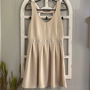 American Eagle Cream Ribbed Fit & Flare Dress 10